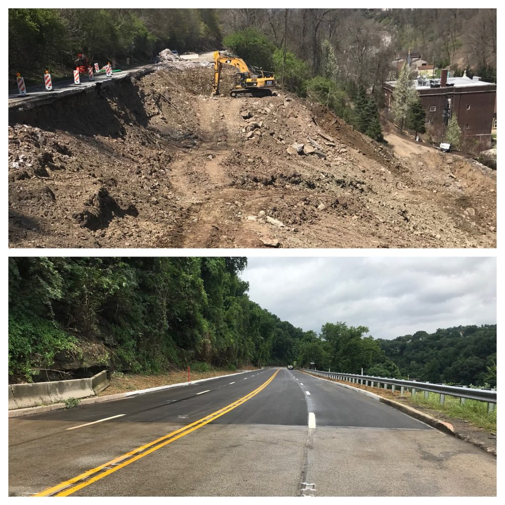 Today is the Day! Route 30 in East Pittsburgh opens early after Landslide Repairs!